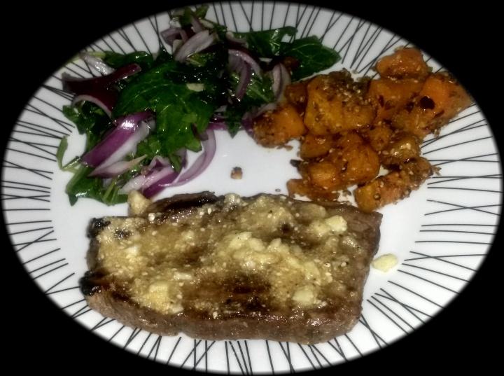 Tahini steak with dukkah crusted butternut