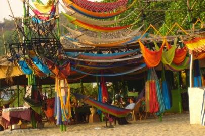 Colorful shacks in Arambol, Goa