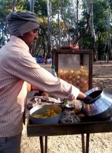 A street vendor seling 'pani puri'