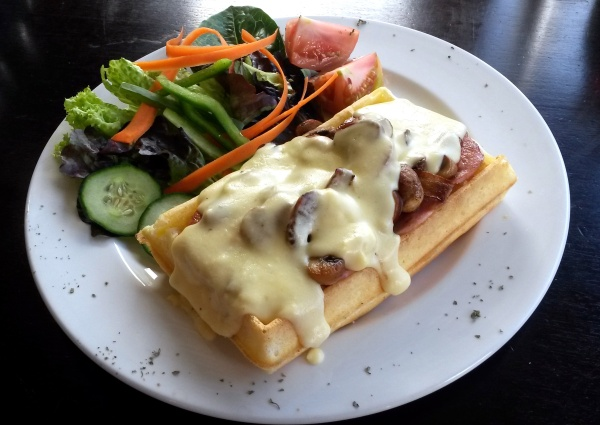 The ham, mushrooms and cheese waffle