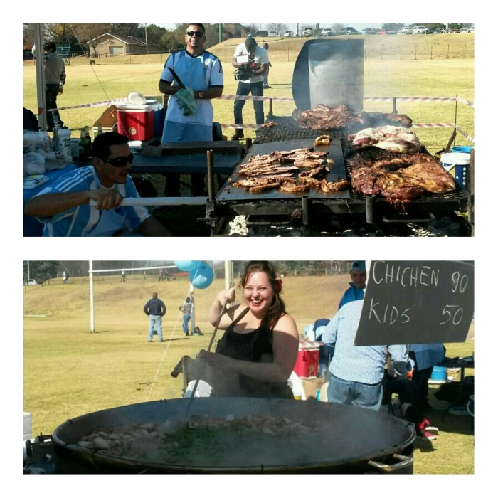 Asado being grilled (top), The cheerful lady making the paella (below)