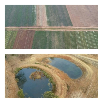 Aerial views of the farmslands below