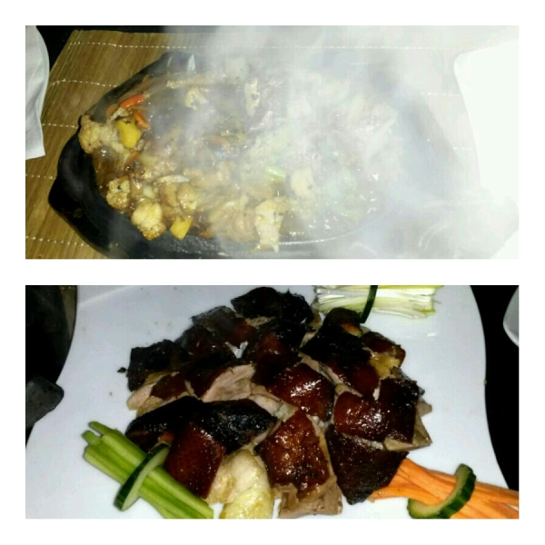 Sizzling beef (top) - I could not wait to take a picture after it stopped sizzling! Peking Duck (bottom)