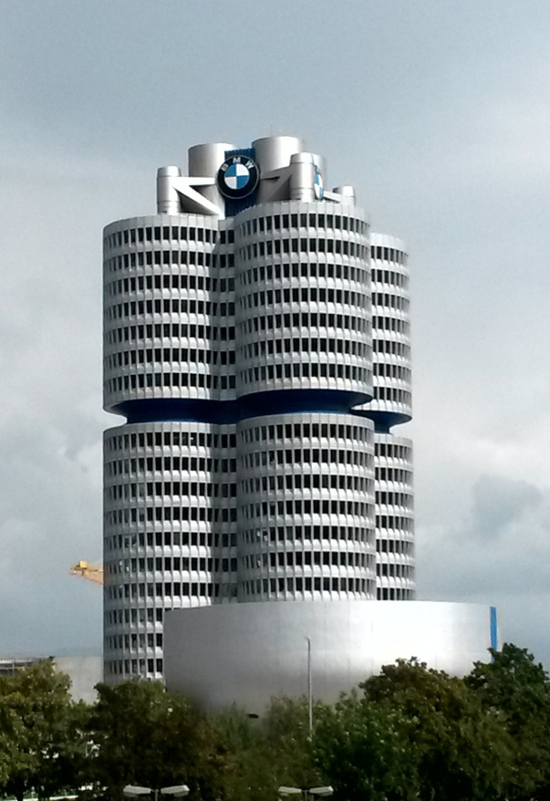 The imposing BMW building