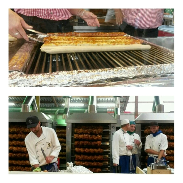 Bratwursts and grilled chicken - being devoured by the hundreds!