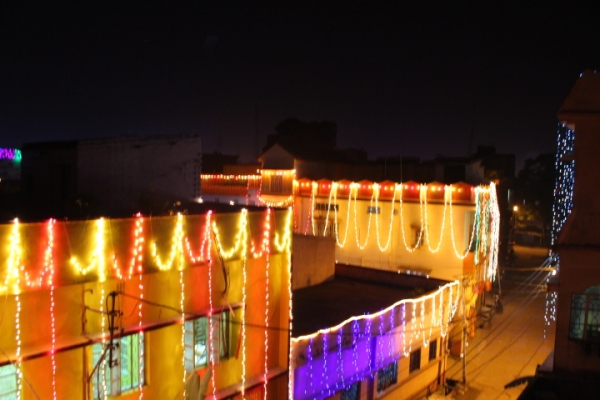 Some of the houses lit up for Diwali